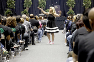 Kim Bearden, co-founder of the Ron Clark Academy and Disney Teacher of the Year, spoke at the annual GISD convocation offering words of encouragement. The event was held at the Curtis Culwell Center Aug. 20.