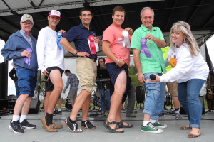 The annual Fallfest Best Legs contest will be back in 2015 along with many fun-filled events. The date is set for Oct. 24. Last year's winners were, from left, Jim Mathis, Corbin Shevack, Carl McCarthy, Dan Craymen and Terry Maynard with contest organizer Cyndi Mitchel.