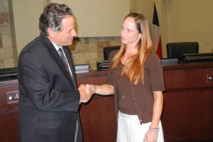 Mayor Mike Felix congratulates new City Secretary Michelle Sirianni on her unanimous appointment during the regular council meeting Sept. 1.
