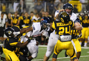 Joe Diehl/The Sachse News Kelon Wilson and fellow teammate get physical with a pair of Garland defenders.