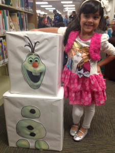 Mia Gonzalez dressed up for the Frozen party Jan. 12 at the Sachse Public Library. Attendees were treated to snacks, games and sang songs throughout the evening.