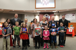 Students from seven elementary schools recognized Wylie ISD Trustees at the January School Board meeting for School Board Appreciation Month. Pictured front row, from left, Canon Pohlmeier, Max Halligan, Keagan Smith, Bella Moore, Ansley Hillin, Kade Bellamy and Michael Heller. Pictured back row, from left, are School Board President Heather Leggett, Trustee Mitch Herzog, Trustee Lance Goff, Trustee Stacie Gooch, Trustee Barbara Goss, Trustee Joe Stooksberry and Tom Westhora.
