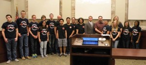 Courtesy photo Sachse High School and Hudson Middle School Robotics teams were recognized during a recent Sachse city council meeting.