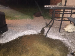 A severe thunderstorm plummeted the area with hail Wednesday night. Courtesy of Tammy Goodenow-Coker.