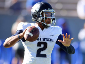 Chris Humphreys-USA TODAY Sports Utah State Aggies quarterback Kent Myers (2) during the first half against the Air Force Falcons at Falcon Stadium.
