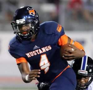Joe Diehl/The Sachse News Quarterback Jaylen Mayden proved to be quite effective with his arm and legs against the Wolves.