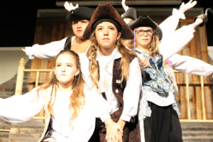 """This girl pirate crew can take on anyone as audiences will find out this weekend, at the opening of """"The Adventures of the Fearsome Pirate Frank.""""  Pictured from left are Savannah Harrod, Alexandra Rios, Jaci James and Jojo Roberts."""