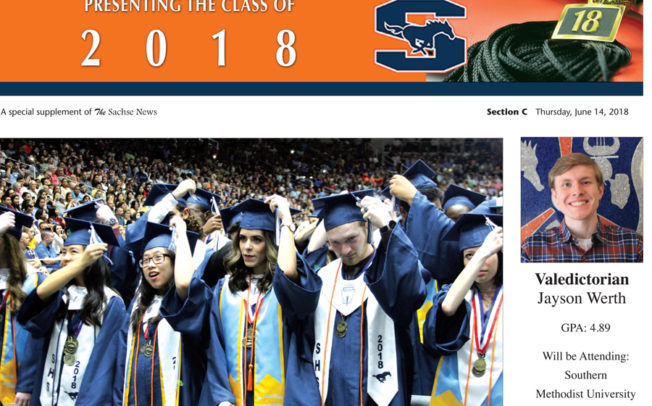 Copies of Sachse High Graduation Section available